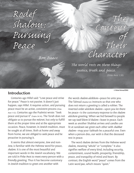 Content of Their Character: Rodef Shalom (Pursuing Peace)