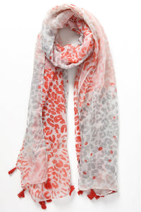 Silver and Coral Leopard Print Tassel Scarf