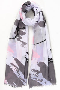 Carbone and Rosa Paintbrush Stroke Scarf