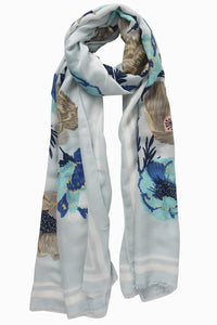 Dusty Blue Floral Scarf