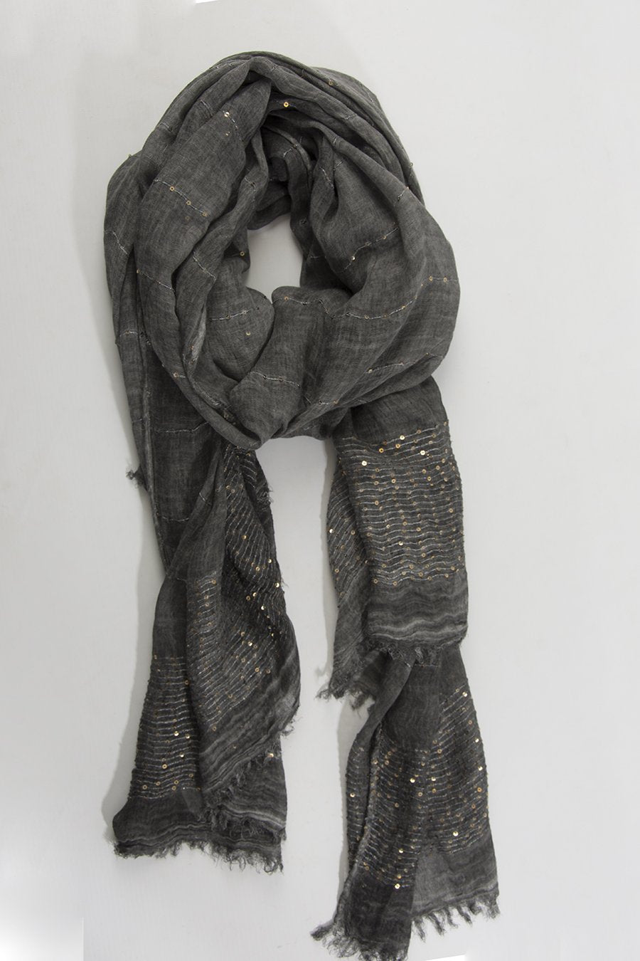 Carbone and Gold Sequin Scarf