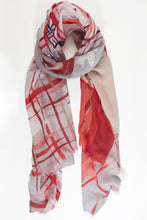 Rosa, Ruby and Bianco Cross Hatch Print Watercolour Scarf