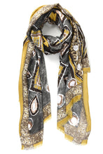 Mustard and Carbone Moorish Print Scarf
