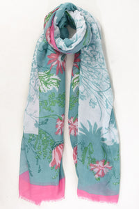 Rosa and Mint Floral Print Scarf