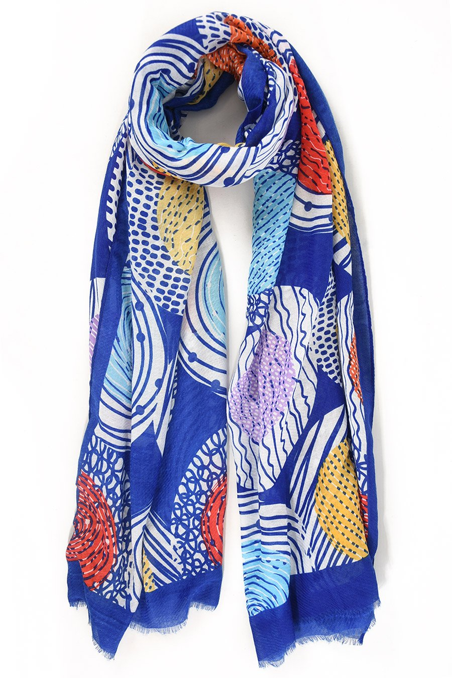 Cobalt Abstract Circle Print Scarf
