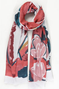 Ruby, Teal and Bianco Painted Floral Scarf