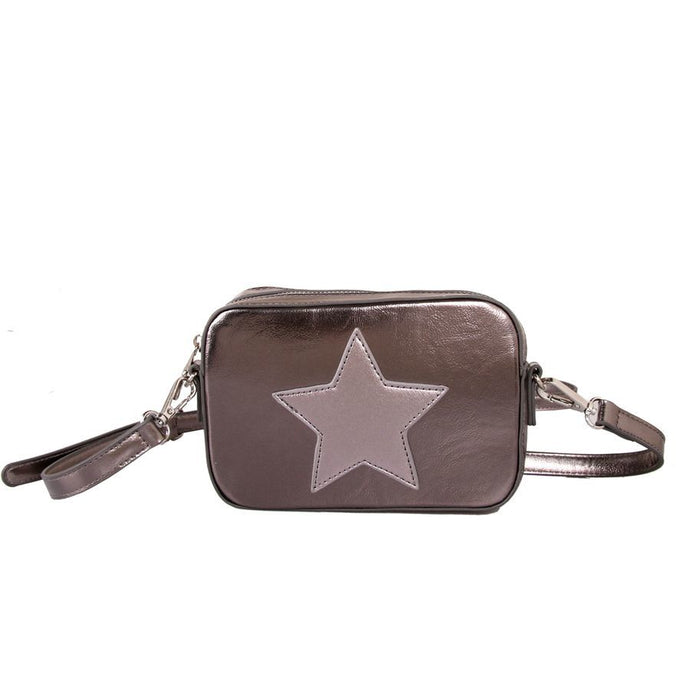 Metallic Silver Star Cross Body Bag