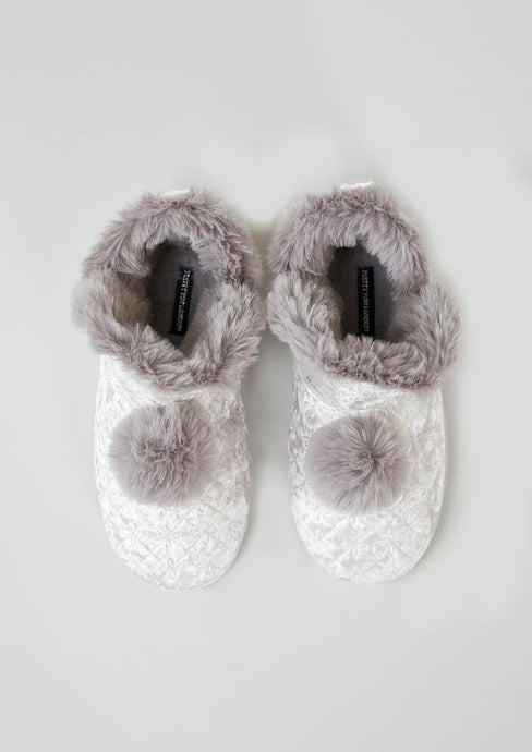 Pearlescent Velvour Pom Pom Boot Slippers