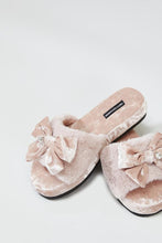 Rosa Diamante Embellished Bow Plush Slippers