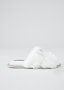 Bianco Diamante Embellished Slippers