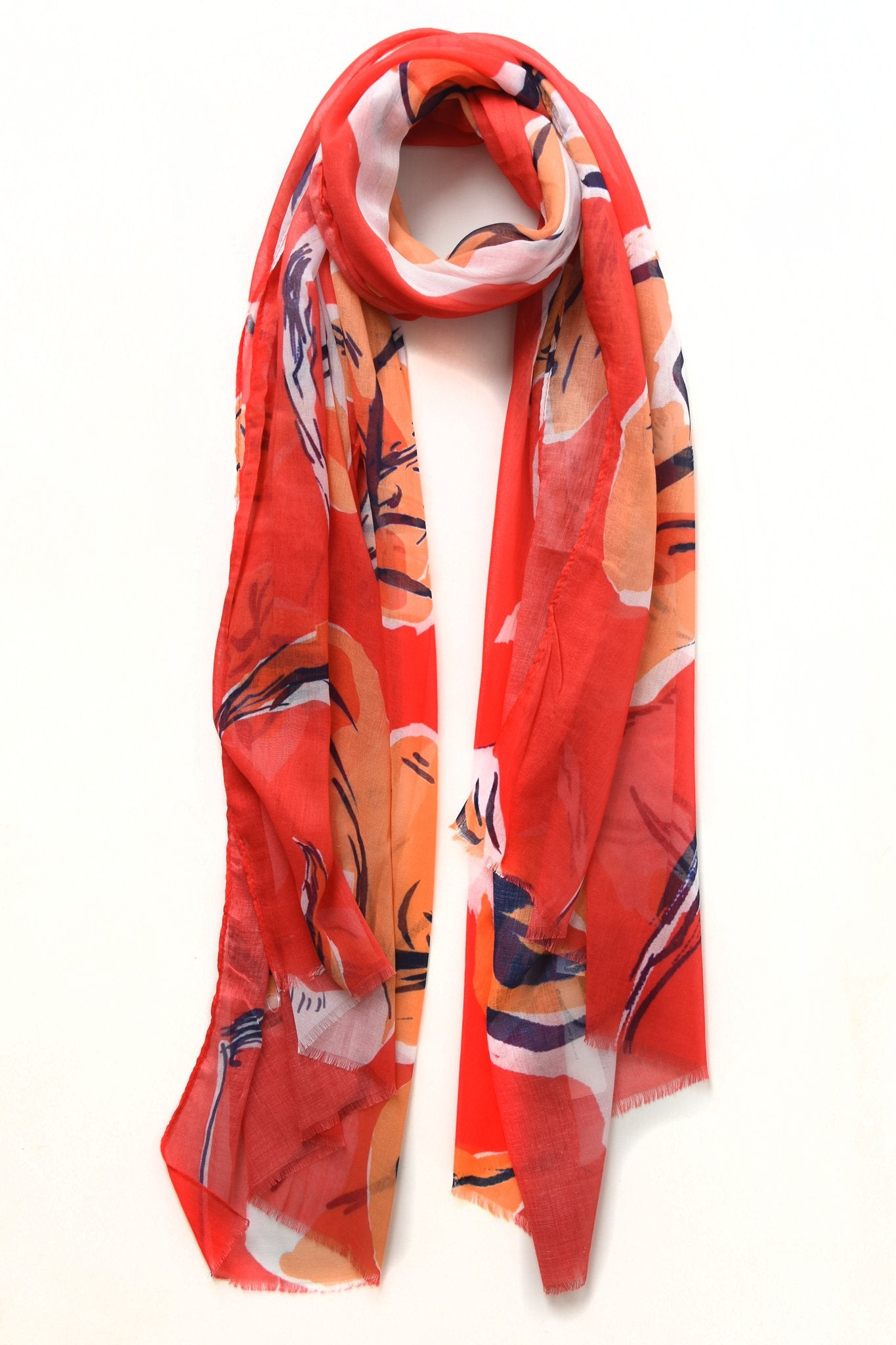 Tangerine and Ruby Large Floral Print Scarf