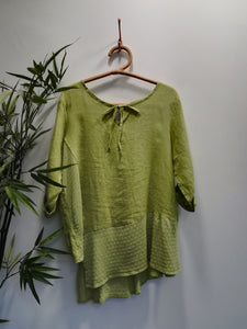 Keira Asymmetrical Linen Crotchet Top