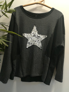 Daniella Two Tone Metallic Sequin Star Sweater Top