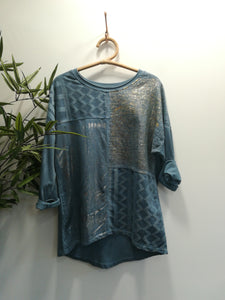 Mia Aztec Metallic Foil Top