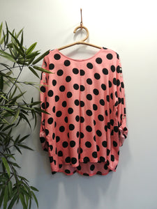 Sonia Polka Button Shoulder Top
