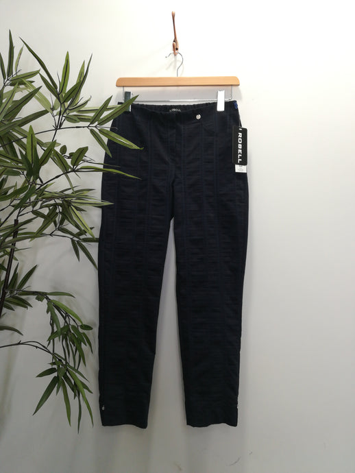 Robell Bella 09 Cotton Linen Mix Trousers Indigo