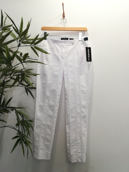 Robell Bella 09 Cotton Linen Mix Trouser Bianco