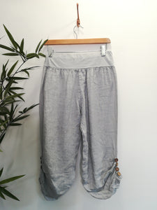 Zara Cropped Linen Button Trouser