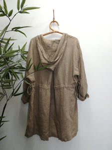 Olivia Hooded Button Linen Jacket