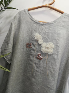 Esme Longline Linen Embroided Floral Top