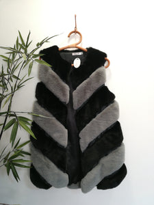 Faux Fur Striped Gilet