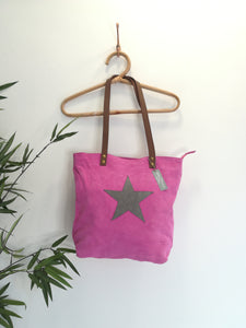 Italian Suede Star Tote Bag