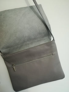 Silver Cross Body Leather Bag