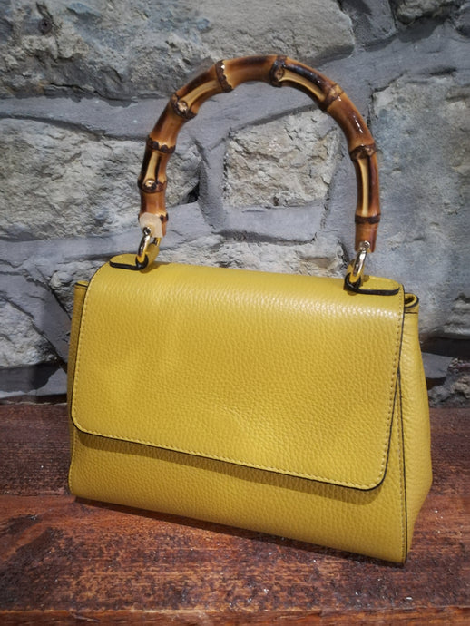 Limoncello Leather Bamboo Handle Handbag