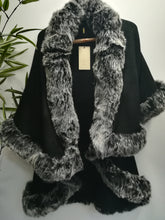 Elsa Nero Knitted Waterfall Tiered Faux Fur Trim Cape