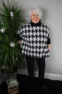 Karla DogTooth Box Poncho Jumper