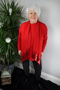 Honey Red Sequin & Button Scarf Jumper