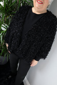 Celia Black Fringed Waterfall Jacket