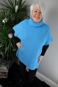 Verona Ribbed Polo Poncho Jumper