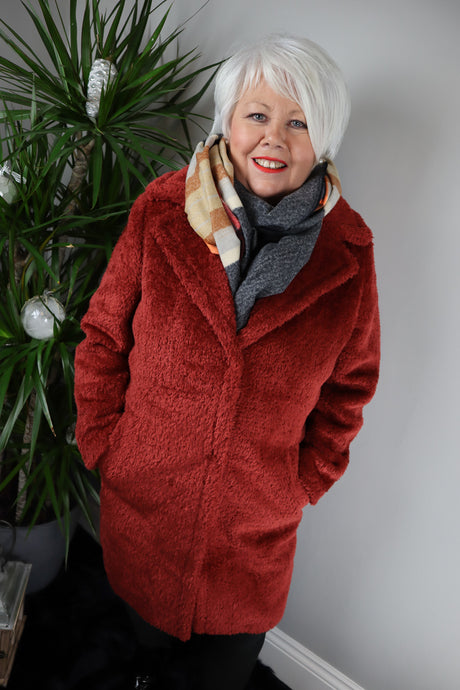 Vanessa Longline Teddy Bear Coat Burnt Orange