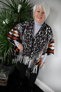 Jodie Wool Blend Fringed Leopard Cape