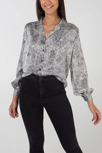 Mary Monochrome Button Blouse