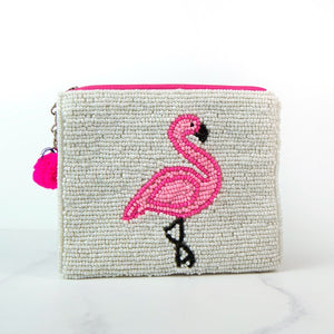 Flamingo Design Beaded Purse
