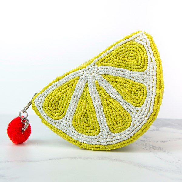 Lemon Slice Beaded Purse