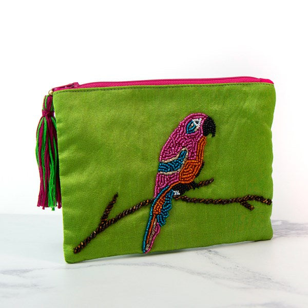 Parrot Hand Embroidered Zip Purse