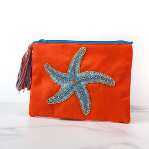 Starfish Hand Embroided Zip Purse