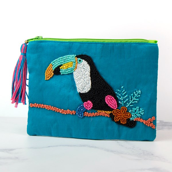 Toucan Hand Embroidered Zip Purse