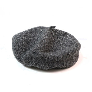 Wool Glitter Beret In Silver Grey