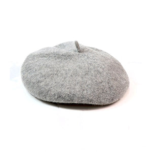 Wool Glitter Beret in Light Grey