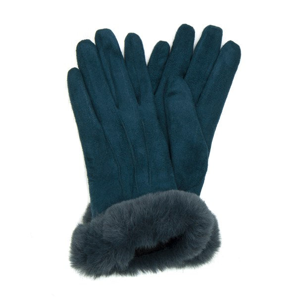 POM Faux Fur Trim Gloves