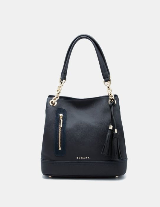 Zohara Camden Navy With Suede Handbag