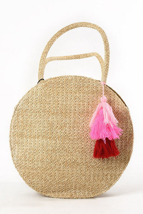 Straw Tassel Circle Bag In Coral
