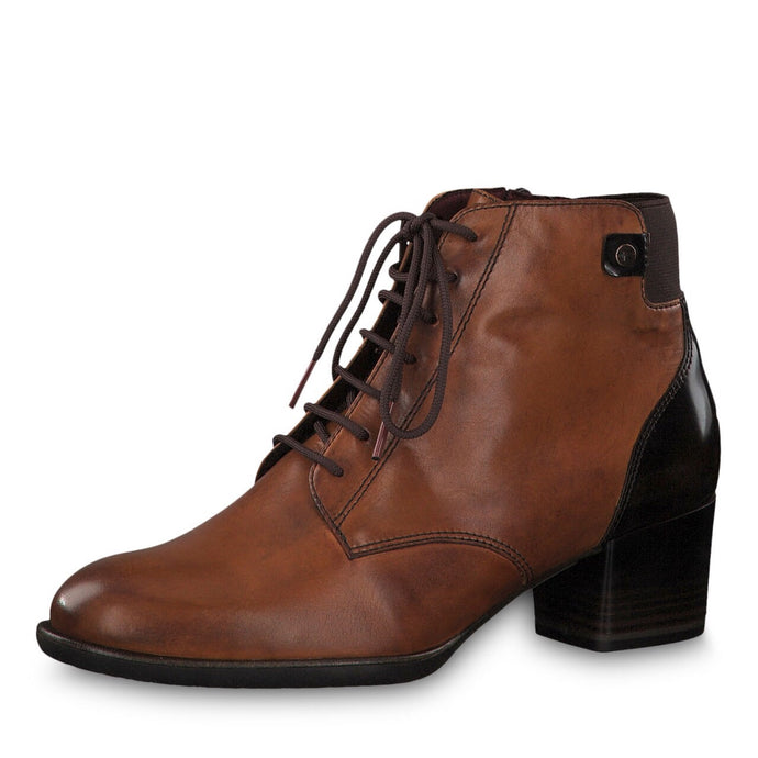 Tamaris Tan Lace up Ankle Boot With Side Zip