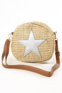 Straw Crossbody Circle Star Bag In Silver