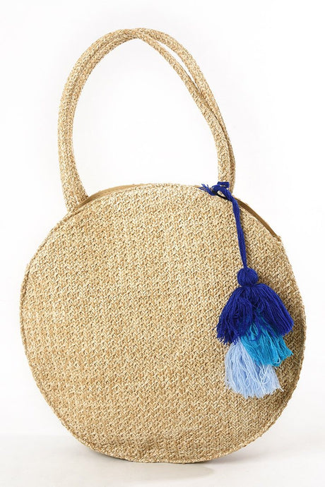 Straw Tassel Circle Bag In Cobalt