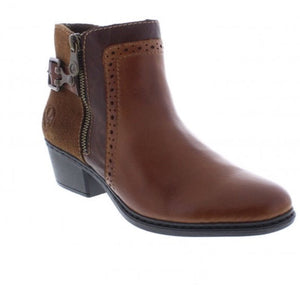 Rieker Brown Combination Zip Up Ankle Boot